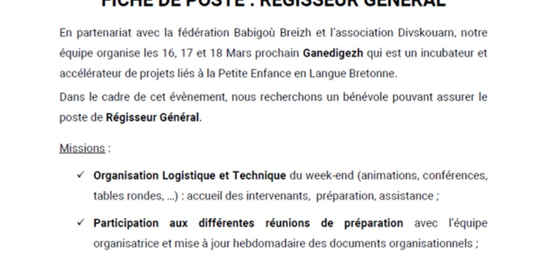 Pennrenour a galon vat / Régisseur Général bénévole – Babigoù bro Leon