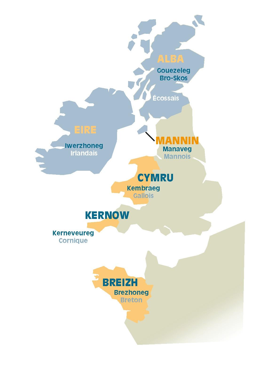 Carte des langues celtiques