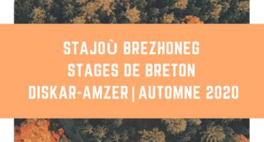 Deux stages de breton pour les vacances d'automne
