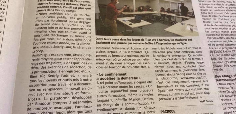 Apprendre le breton : Roudour évolue vers des formules hybrides. Le Poher Hebdo. 21/10/2020