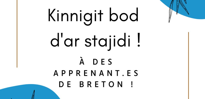 Kinnigit bod d'ar stajidi evit un nebeud nozvezhioù ! Proposez le gite à des apprenant.es de breton pour quelques nuits !