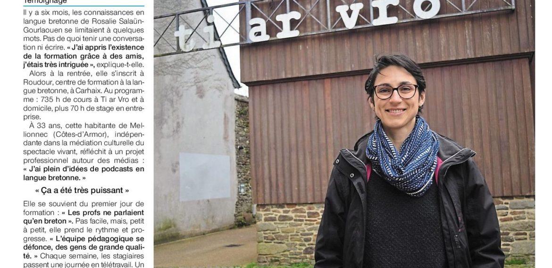 Apprendre le breton, «un voyage très intime». Ouest-France. 24/03/21